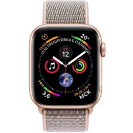 Умные часы, браслет спортивный Apple Watch Series 4 (GPS) 40mm Gold Aluminium Case with Pink Sand Sport Loop (MU692)